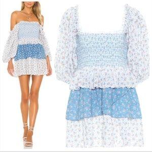 LoveShackFancy Shaw Dress in Vista Blue L